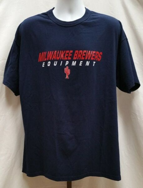 Pre-owned Russell Milwaukee Brewers Equipment Navy Blue T-Shirt Size XL A703