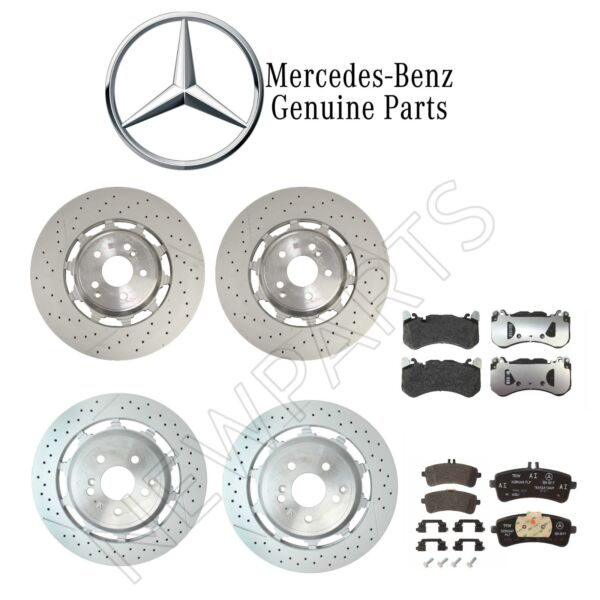 For Mercedes W222 C217 A217 Front & Rear Disc Brake Rotors & Pads Kit Genuine