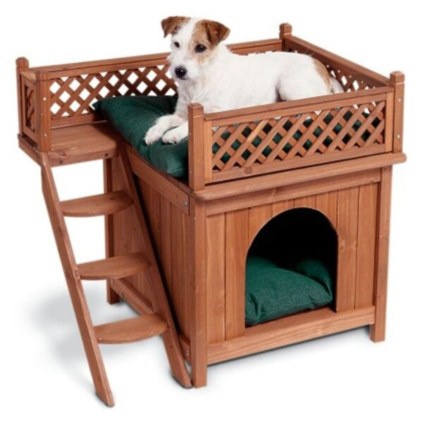 Small Dog House Outdoor Wooden Crate Bed Roof Top Balcony Pet Puppy Furniture