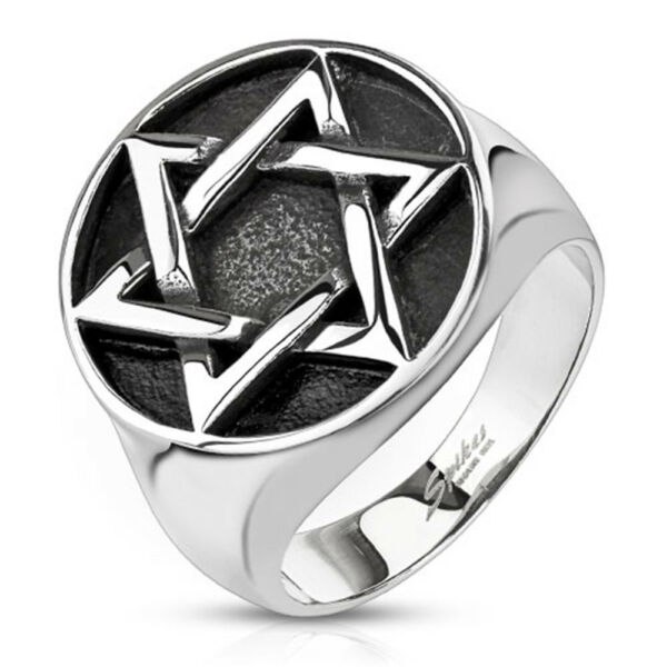 Star of David Medallion Cast Wide Cast Ring Stainless Steel Band Ring R670