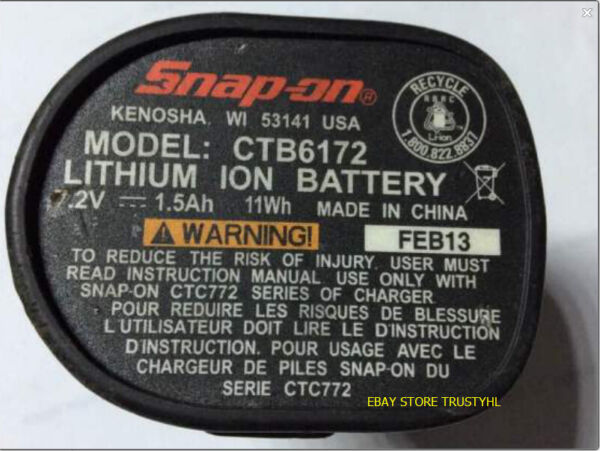 Battery Rebuild For SNAP ON 7.2V CTB6172 LITHIUM ION BATTERY 2.0AH