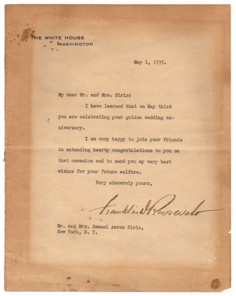 Franklin D Roosevelt - Typed Letter Signed - Congratulates Jewish Couple in 1935