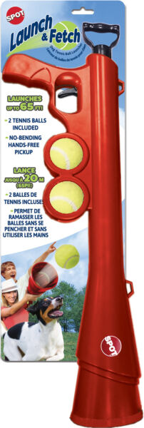 Launch & Fetch Tennis Ball Launcher Ethical Dog Part 54299 Red Launches Up To