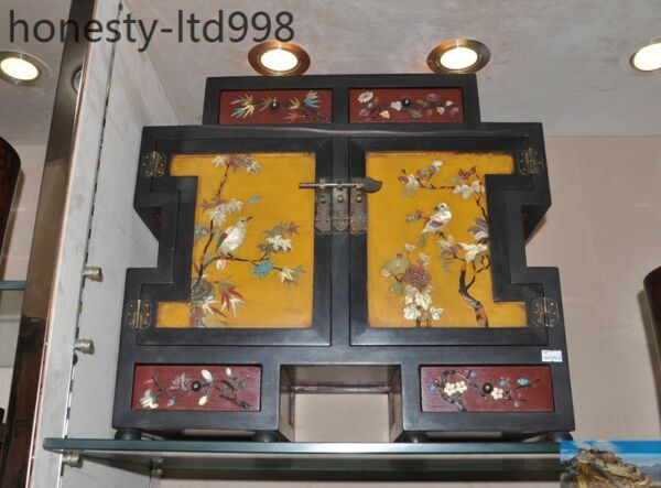 China Lacquer wood Inlay shell flower bird Landscape  Forcer Drawer Locker Boxes
