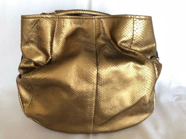 Sergio Rossi Gold Snakeskin Tote With Side Buckle Details And Shorter Handle
