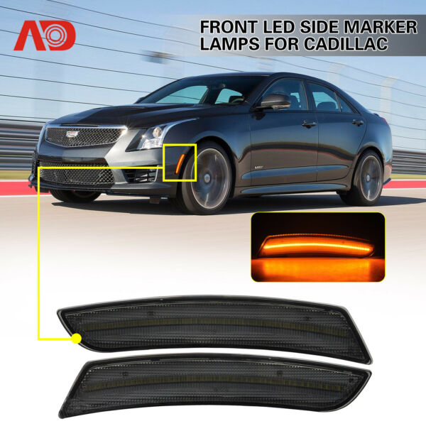 2X For Cadillac ATS CTS 15-19 SMOKED LED Side Marker Light FRONT AMBER 23169181