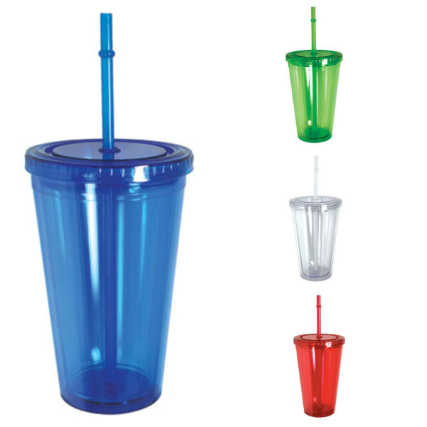 100% BPA Free Cup Bottle With Straw Double Wall Screw on Lid Water Drinks 16oz