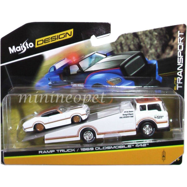 MAISTO 15055-18B ELITE TRANSPORT RAMP TRUCK with 1969 OLDSMOBILE 442 1/64 WHITE