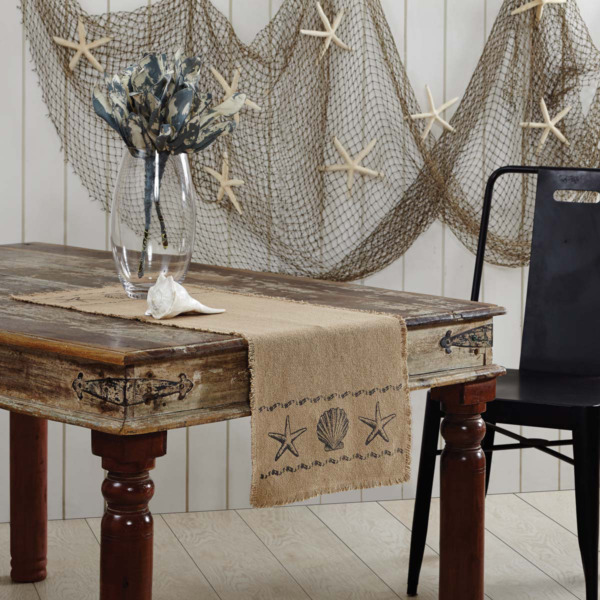 Beach House Starfish Seashells Tan Cotton Burlap Table Runner Choice of 3 Sizes