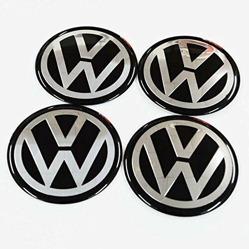 4pcs Volkswagen 55MM Car Wheel Center Hub Cap Emblem Sticker Fit For VW BLACK