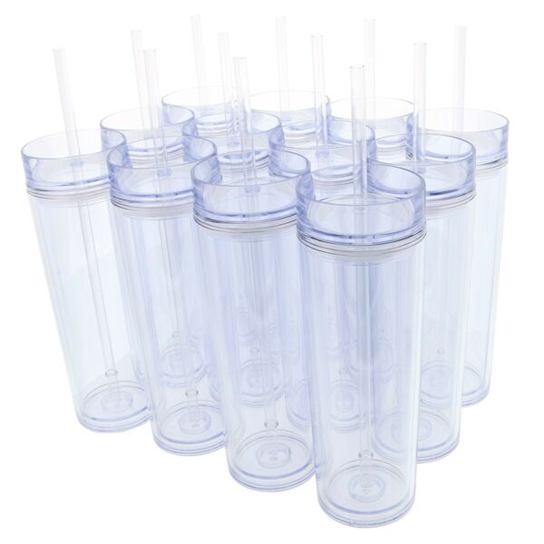 Set of 12 Double Wall Skinny Acrylic Tumblers 16 Oz with Straws