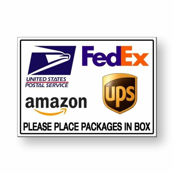 Place Packages In Box Sign METAL 3 sizes delivery usps fedex ups amazon MS026