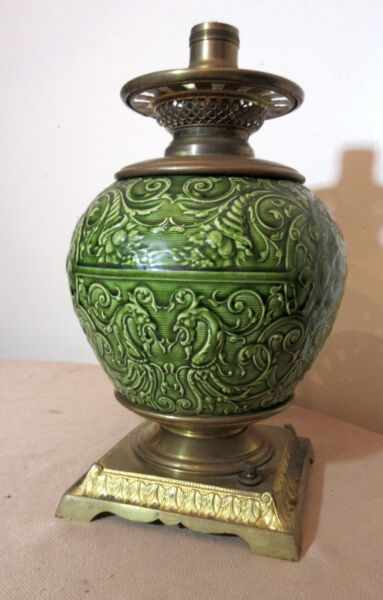 rare antique 1800's ornate Minton majolica pottery gilt bronze electric oil lamp