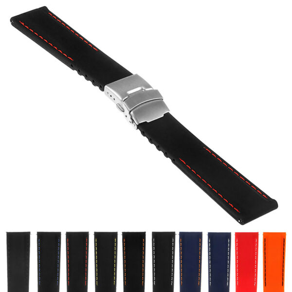 StrapsCo Rubber Watch Band w Stitching & Deployant Clasp - Quick Release Strap