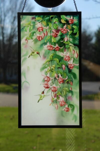 Hummingbirds and Fuchsia Stained Glass Art
