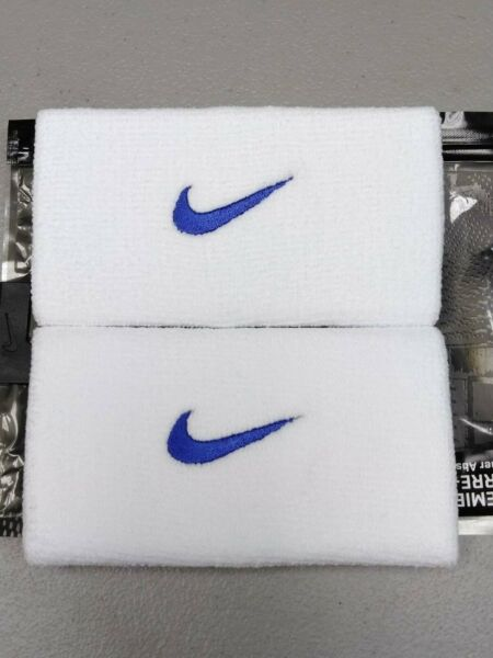 Nike Unisex Dri-Fit Doublewide Wristbands - White with Royal Blue Swoosh - NIP