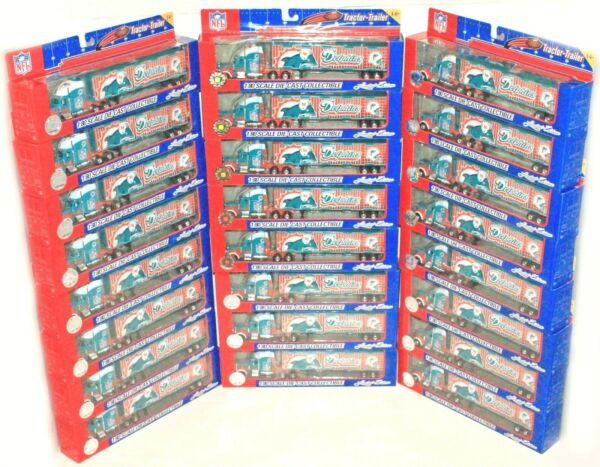 24 PC CASE MIAMI DOLPHINS NFL 1:80 DIECAST LIMITED EDITION TRUCK TOY FLEER 2005