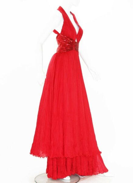 New $6370 Roberto Cavalli Red Silk Marilyn Monroe Style Open Back Cut Out Gown