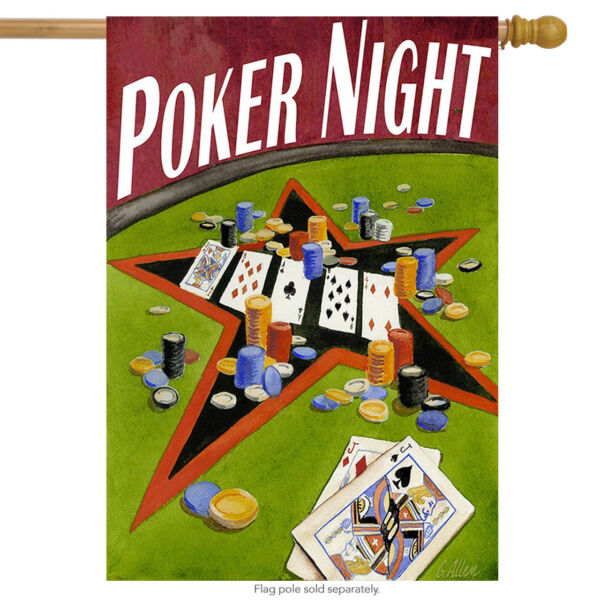 Poker Night House Flag Cards Chips Money Bets Toland Decorative 28