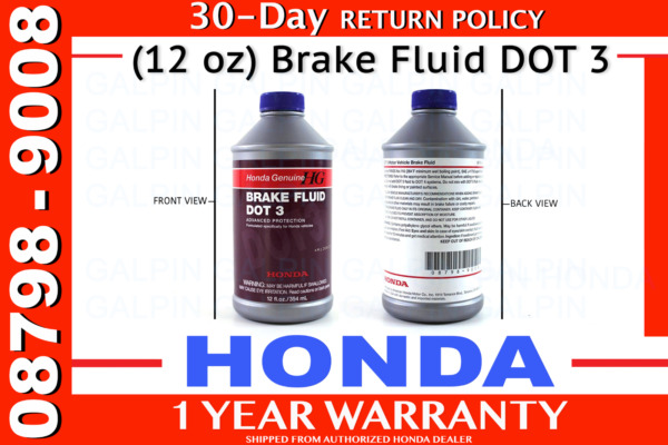 Genuine OEM Honda Brake Fluid Bottle 12 Ounces oz. 08798-9008 DOT 3