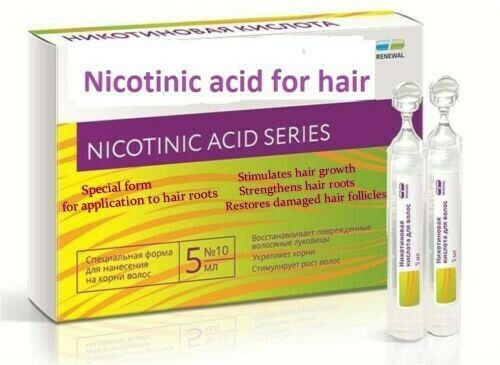 Nicotinic acid for hair. Stimulates strengthens the hair. 10 ampoules Х 5 ml