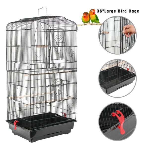 36'' Large Bird Cage Play Top Parrot Finch Pet Supplies Perch Macaw House