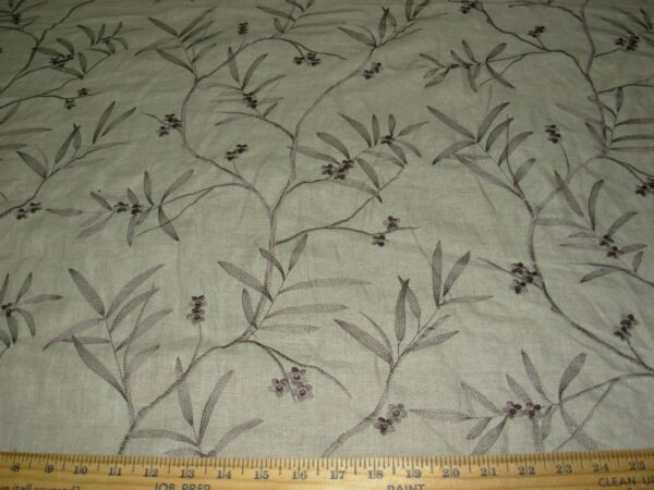 BTY FABRICUT ASIAN TATRA LINEN DRAPERY EMBROIDERED UPHOLSTERY FABRIC FOR LESS
