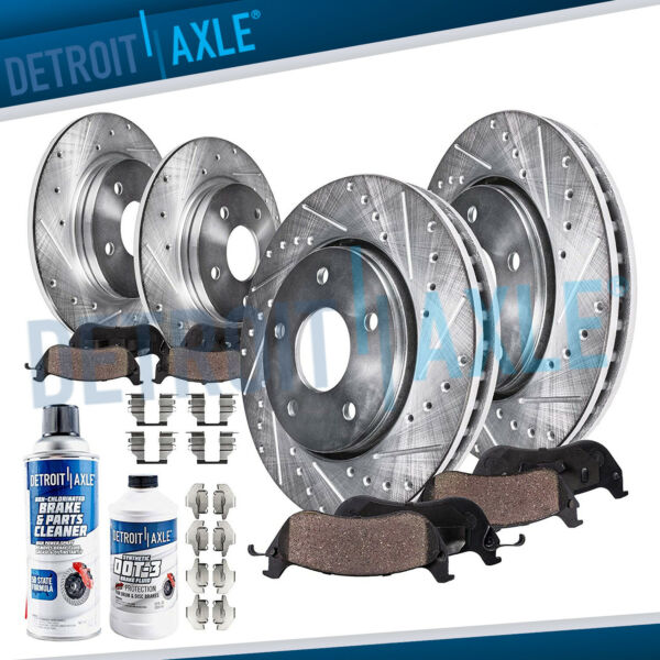 Fit 2012 2013 - 2017 Toyota Camry Front Rear DRILLED Brake Rotors + Ceramic Pads