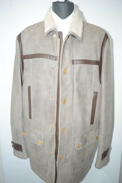 NEW 1050000 $ STEFANO RICCI  Outwear Top Over Coat Leather  Us M Eu 50 (G48)