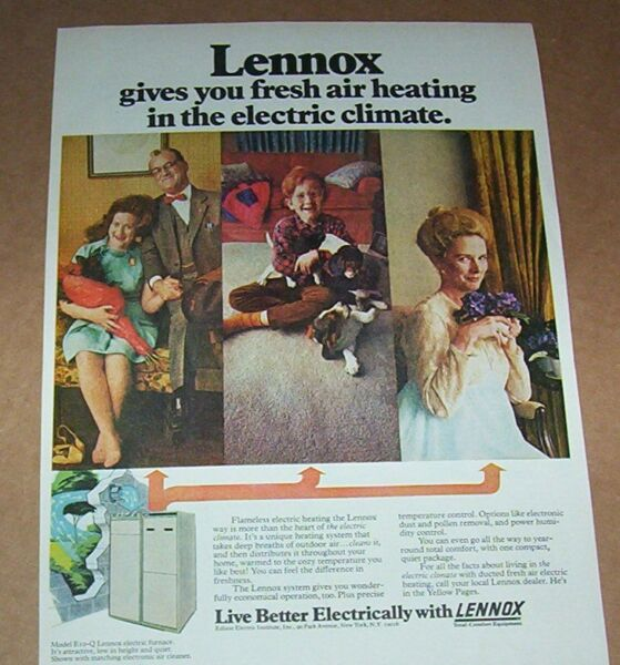 1971 print ad Lennox electric heating cute little boy dogs family Advertising $7.99