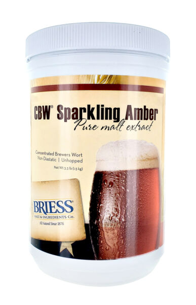 Briess Sparkling Amber Malt Extract 3.3lb for Home Brew Beer Making