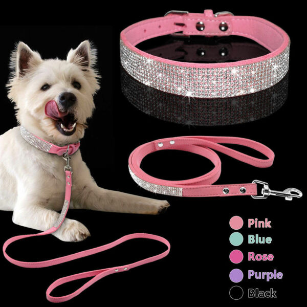 Bling Rhinestone Pet Dog Collars and Leash Lead for Small Medium Dog Puppy XS M $12.99