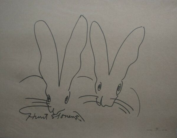 Hunt Slonem Bunnies ltd.ed. signed artprint and coffee table book DELUXE