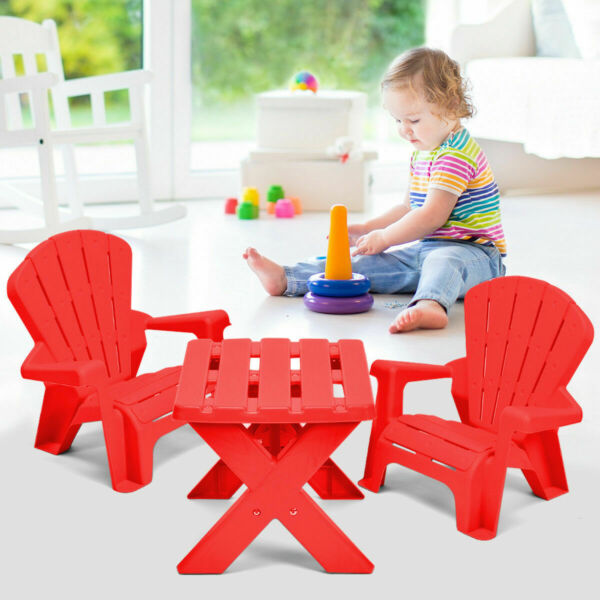 Plastic Children Kids Table & Chair Set 3-Piece Play Furniture In/Outdoor Red