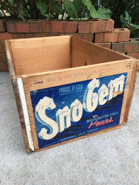 Vintage Wooden Produce Fruit Crate Sno Gem  Pears Box Dryden Washington