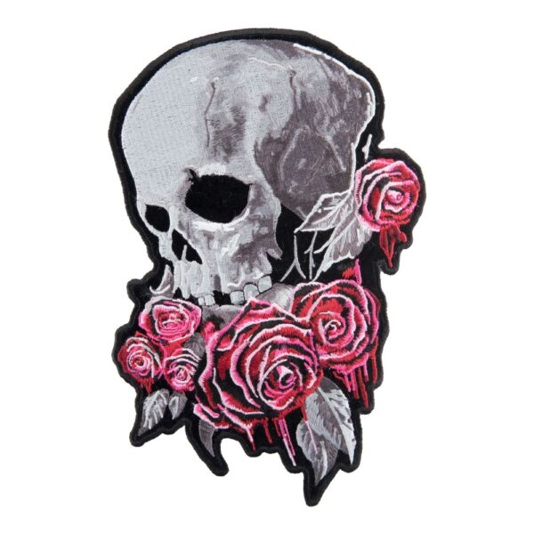 Skull And Bleeding Roses Patch Ladies Back Patches $24.99