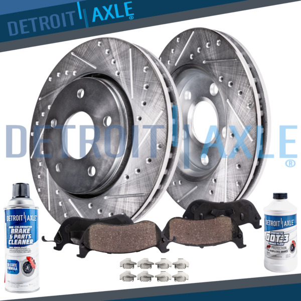 Front Drilled Brake Rotors + Ceramic Pads for 2003 - 2008 Vibe Corolla Matrix