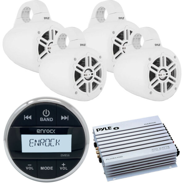 Enrock Bluetooth Marine Receiver 4x Wakeboard 300W Tower Speakers White Amp $268.49