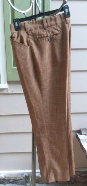 Vintage 70s mens pants plaid browns rust muted gold 32X 28