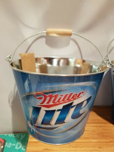 (1) Miller Lite Ice Bucket Party Drink Beer Holder Pail mancave w wood hndl New