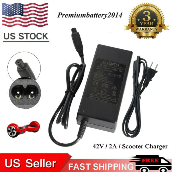 42V 2A Power Adapter Charger for PR200 Swag*ayX1 Swagtron T1 T3 T5 T6 HoverBoard
