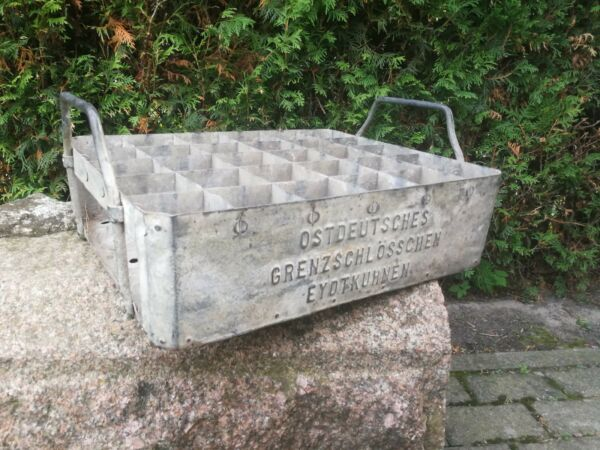 Antique old beer crate OSTDEUTCHES GRENZSCCHLOSSHEN EYKUHNEN metal box Prussia