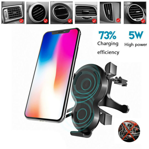 5W Qi Wireless Car Mount Charger V/2A Fast Charging Pad Magnetic Mount Holder