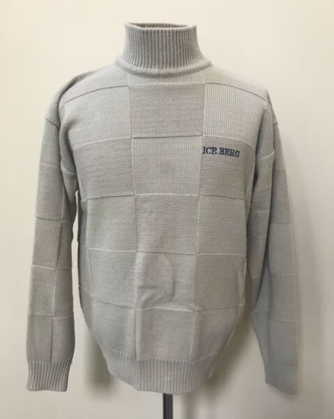Mens Iceberg sweater Mickey Mouse History Large L beige tan square design $49.99