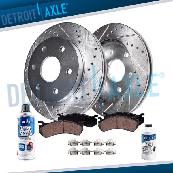 Front Drilled Brake Rotors Ceramic Pads for 4WD 2005 2006 2007 2008 F150 Mark LT