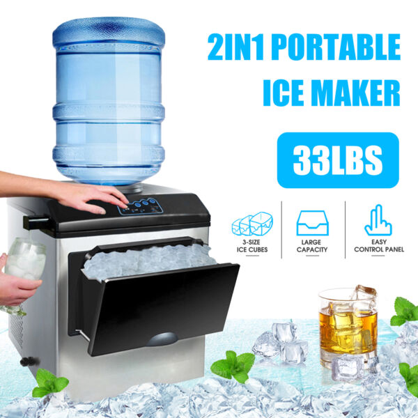 2in1 Built-In Electric 5 Gallon Water Dispenser Ice Maker Machine Countertop