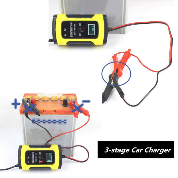 12V 5A LCD 3-stage Automatic Car Battery Charger Lead Acid Storage EU Version