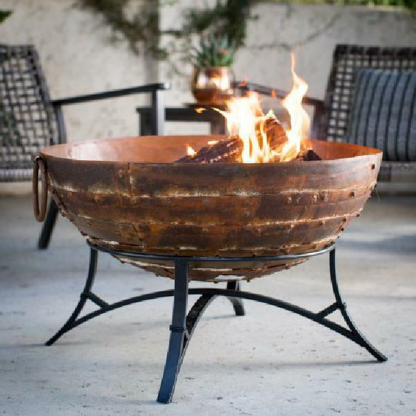 Wood Burning Fire Pit w Stand Outdoor Patio Burner Cabris Patchwork Iron Bowl