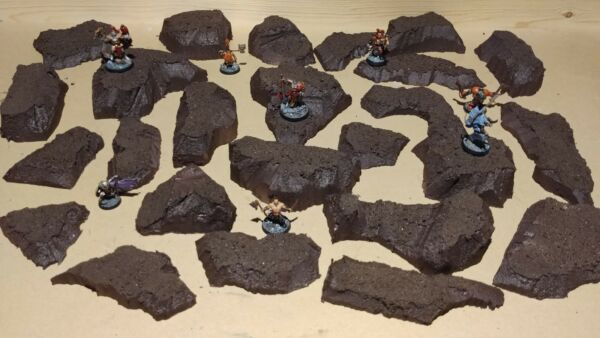 Wargaming Terrain Large Box Set of Brown Hills Primed and Unfinished