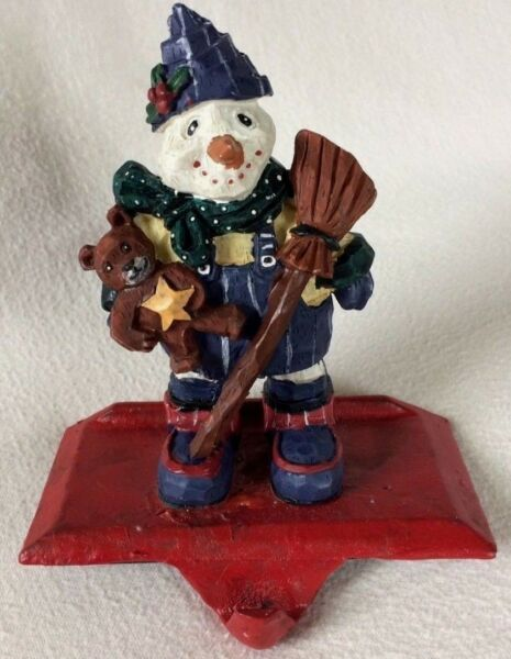 SNOWMAN STOCKING HOLDER Hanger TEDDY BEAR BROOM Christmas Fireplace IRON BASE